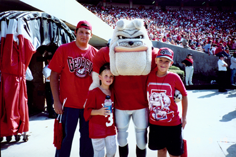 Laramie, Clint, Harry Dawg and Luke;  Sideline guest of The Georgia Bulldogs